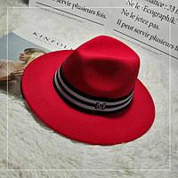 Шляпа женская фетровая Федора с лентой в стиле Maison Michel и устойчивыми полями красная