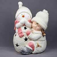 Светящаяся фигурка Девочка и Снеговик, магнезия, 30*24*44см (920081)