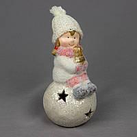 Новогодняя светящаяся сувенирная фигурка Девочка со снежным комом, керамика, 8, 5*9*17см (920128-2)