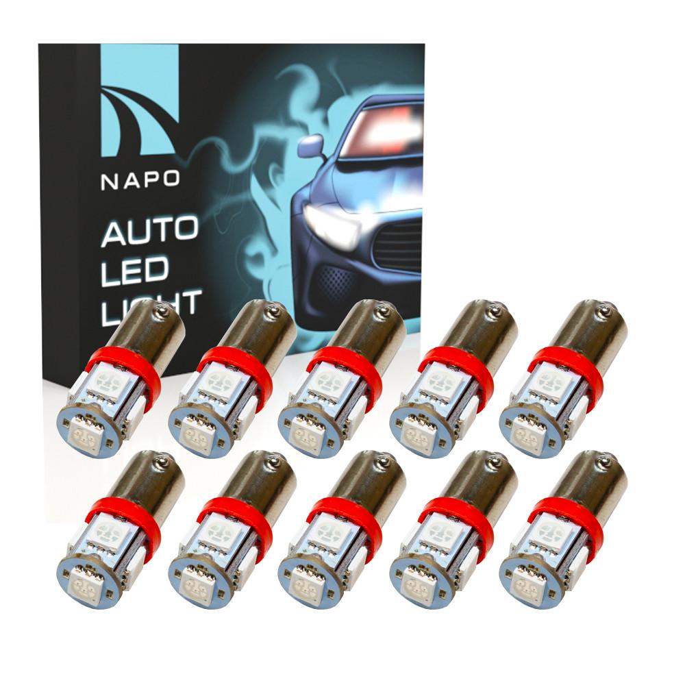 Автолампа диодная BA9S-5050-5smd, комплект 10 шт, T4W, BA9S, цвет свечения красный