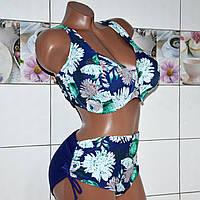 60 размер(чашка F-G) ! Роскошный синий раздельный купальник для женщин с большой грудью, с узором пионы.