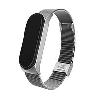 Металлический браслет серебристый silver для фитнес трекера Xiaomi mi band 4 / 3 ремешок аксессуар замена