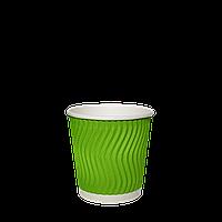 Одноразовый стакан  гофрированный серия Салатовый (Волна) 110мл. 30шт/рук; 48рук/ящ; 1440шт/ящ