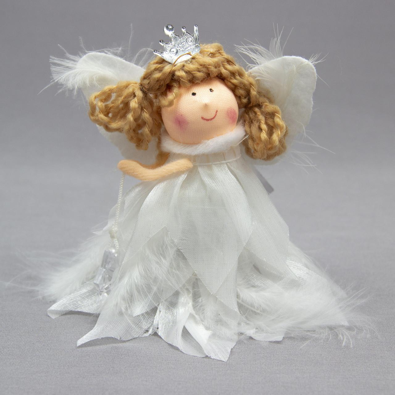 Елочная игрушка - ангелочек со звездой, 11 см (220037-1)