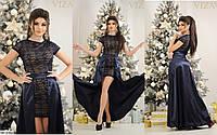 Вечернее платье - двойка, гипюр и атлас арт 3043