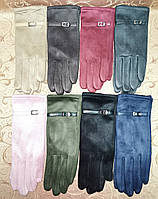 Замш женские перчатки стильные только оптом, фото 1