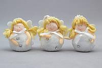 Набор елочных игрушек - ангелочек, 3 шт, 6 см, белый, керамика (220273)