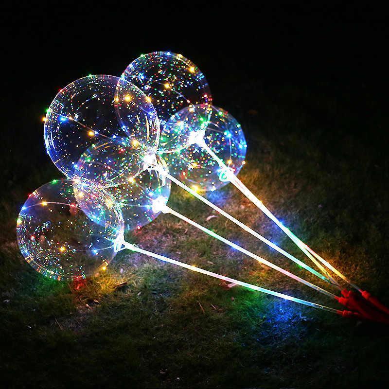 Воздушный светящийся шар BOBO-BALLONS разноцветное свечение 3 режима на 3 батарейки 30 led