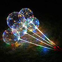 Воздушный светящийся шар BOBO-BALLONS разноцветное свечение 3 режима на 3 батарейки 30 led, фото 1