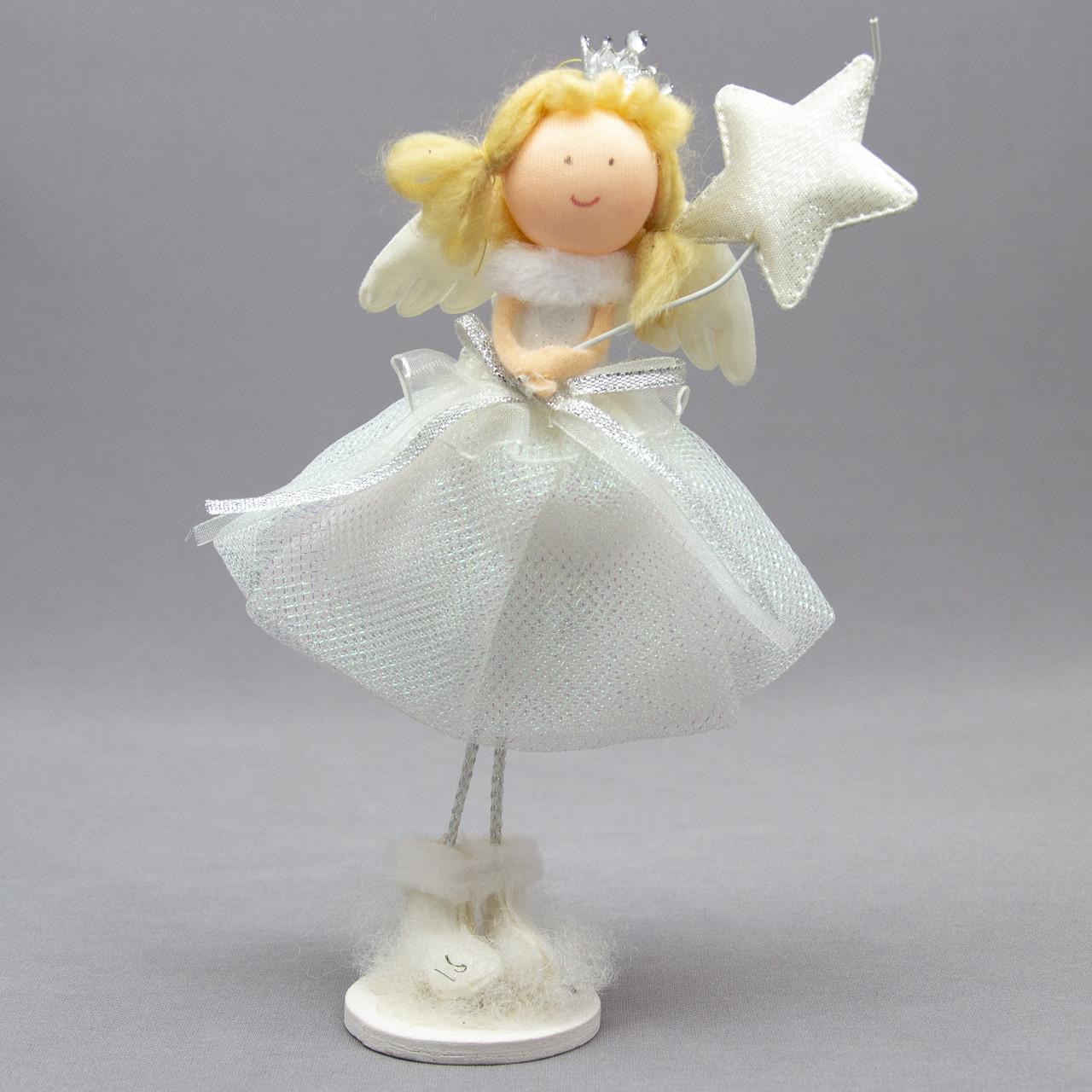 Новогодняя сувенирная фигурка ангел со звездой на подставке, 24 см (220327-1)
