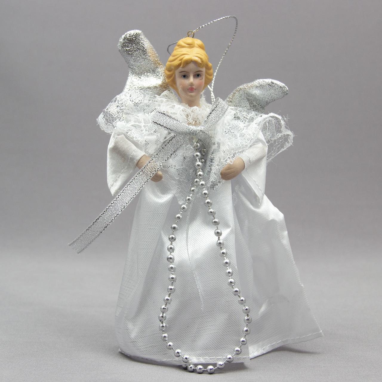Елочная игрушка Ангел с крыльями 15 см, серебряный ангел с бантом (000319-3)