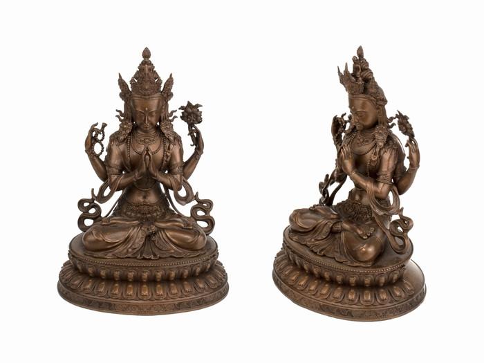 Статуя. Бронза. Чинрезиг Авалокитешвара. Оксид (16x10.5x8.5 см)
