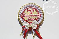 Білий з бантиком значок Випускник 2022