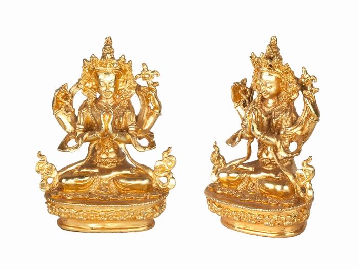 Статуя. Бронза. Ченрезиг Авалокітешвара. Міні. Позолота (9х6,5х3,8 см)