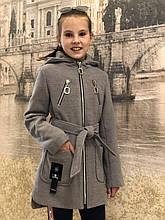 Пальто для девочки с поясом р. 128-156 светло-серое