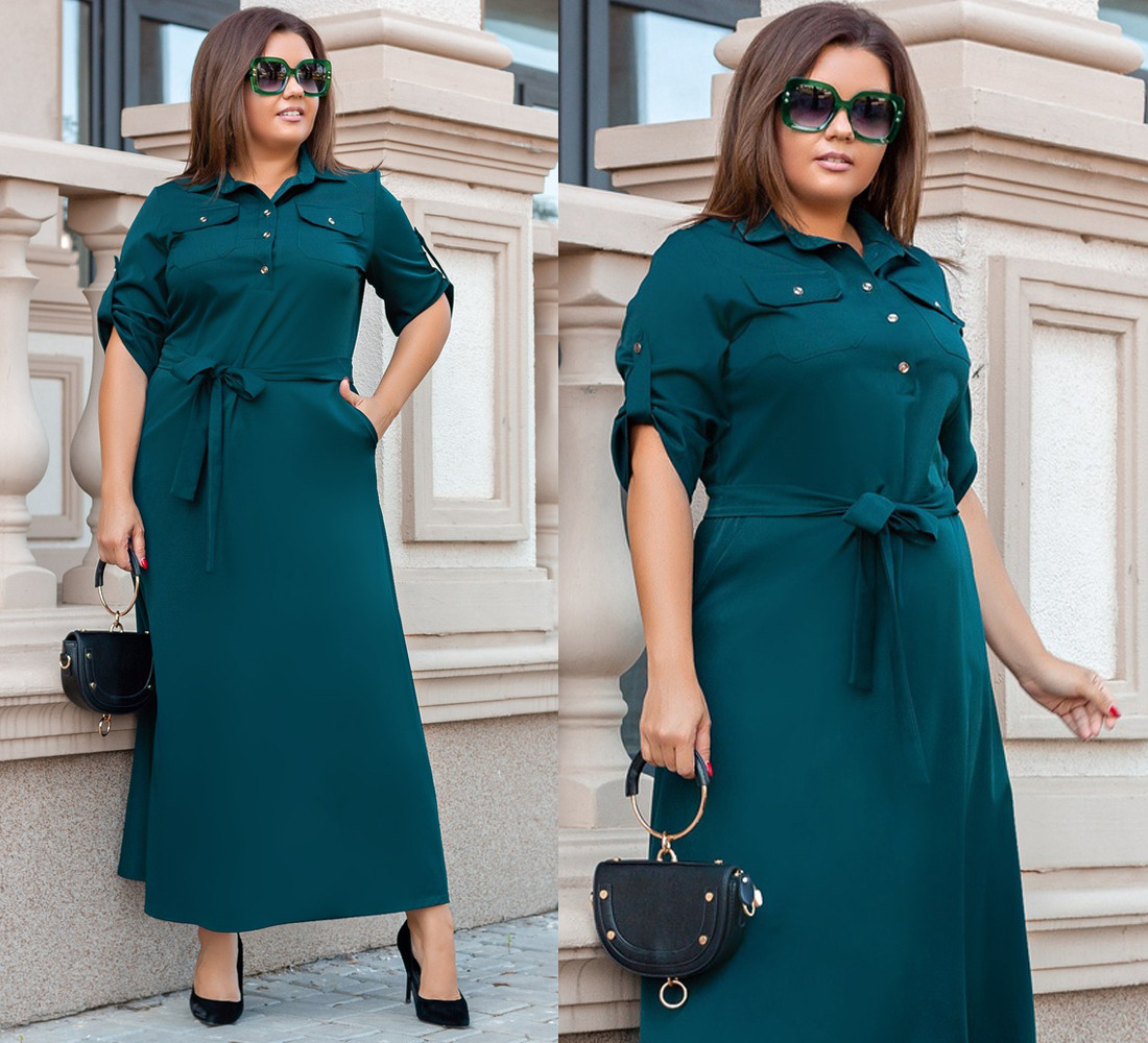 """Платье больших размеров  """"Oliver"""" р-ры от 48 до 54 - с карманами, рубашечный воротник 336-663"""