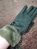Замшс мех на манжете с сенсором качество женские перчатки для работы на телефоне плоншете стильные только опт, фото 2