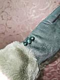 Замшс мех на манжете с сенсором качество женские перчатки для работы на телефоне плоншете стильные только опт, фото 3