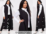 Брючный женский костюм жилет + рубашка + брюки. 11479