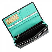 Кошелек женский Visconti CD-21 - Topaz (black/aqua) черный кожаный на кнопке с отделениями для карт и монет