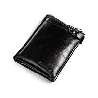 Кошелек мужской Teemzone Q373 (black) черный кожаный на кнопке двойного сложения для карт и купюр