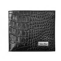 Бумажник кошелек мужской Issa Hara WB1 (21-00) black croco черный кожаный двойного сложения для карт и купюр