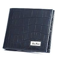 Бумажник кошелек мужской Issa Hara WB1 (23-00) blue croco синий кожаный двойного сложения для карт и купюр