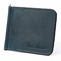 Зажим для купюр мужской Issa Hara Зажим 1 (33-00) синий из натуральной кожи ручной работы