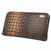 Клатч мужской Issa Hara CL2 (56-00) светло-коричневый из натуральной кожи под крокодила на молнии