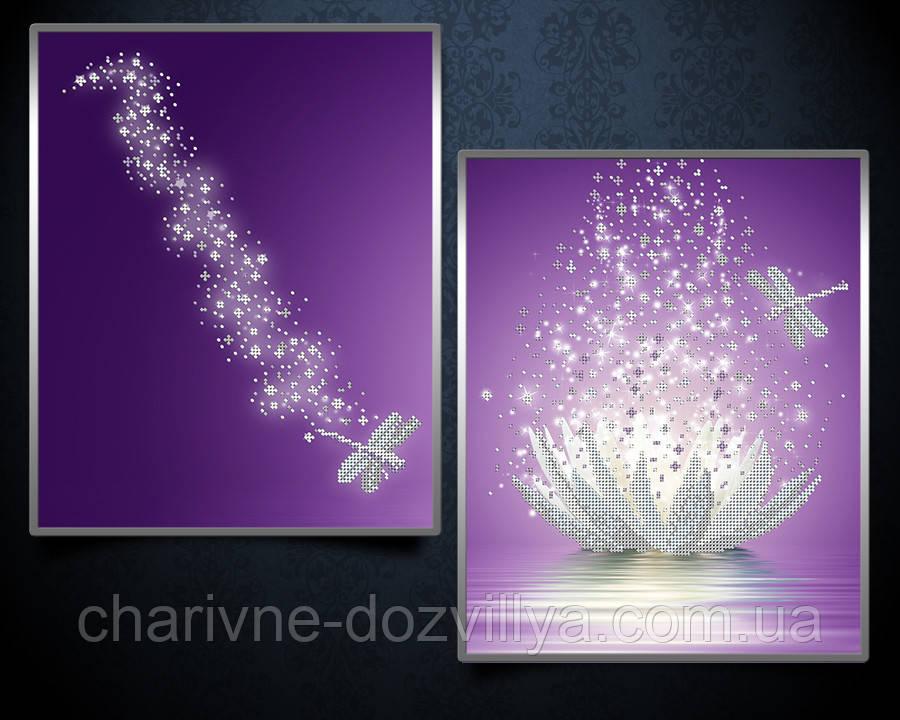 """Схема-диптих для вышивки бисером на атласе (цветы) """"Хрустальный лотос"""""""