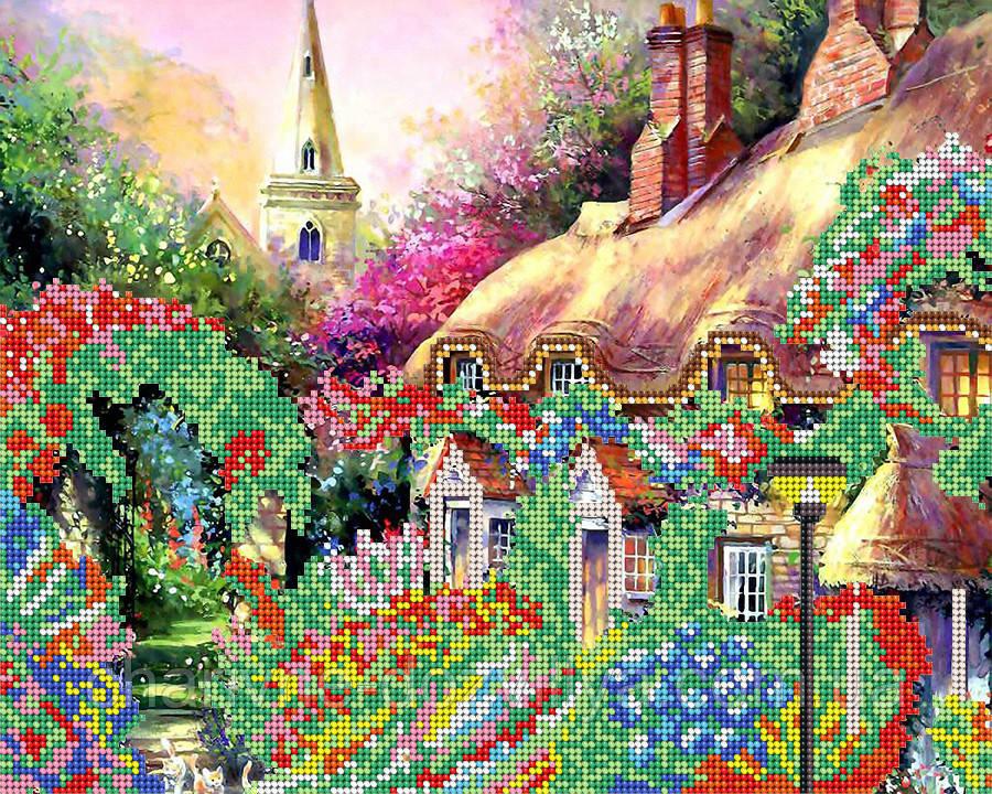 Схема для вышивки бисером Цветущий домик