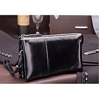 Клатч мужской Teemzone S3360 черный кожаный на молнии со съемной ручкой вместительный для документов