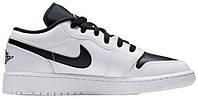 Мужские кроссовки Nike Air Jordan 1 Low White Black (найк аир джордан 1 ретро, белые/черные)
