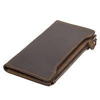 Бумажник кошелек мужской TIDING BAG R-8168R dark brown коричневый кожаный винтажный двойного сложения для карт
