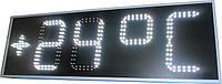 Часы термометр светодиодные уличные с отображением даты и месяца. Белый цвет