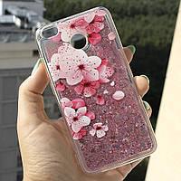 Чехол Glitter для Xiaomi Redmi 4x / 4х Pro Бампер Жидкий блеск Sakura, фото 1
