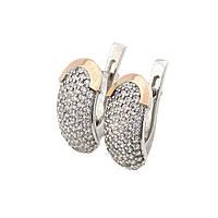 Серебряные серьги с фианитами (с золотыми накладками)