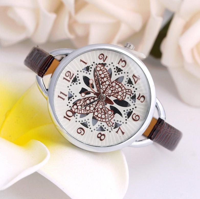 Наручний годинник з метеликом Fly brown