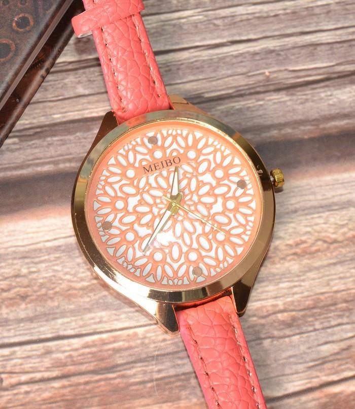Жіночі наручні годинники з тонким ремінцем Meibo pink