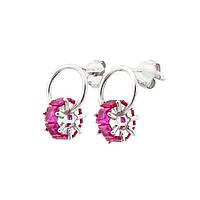 Серебряные серьги с розовыми фианитами