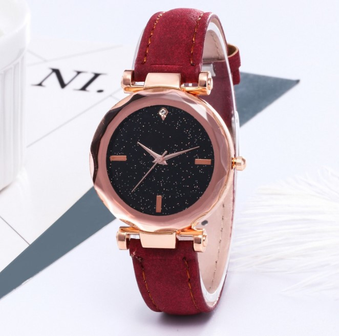 Трендові наручний годинник Starry Sky Watch red