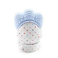 Прорезыватель - перчатка Горошок, голубой Berni