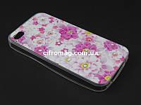 Чехол TPU Diamond для Apple iPhone 4 4s Цветочный принт розовый