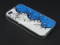 Чехол TPU Diamond для Apple iPhone 4 4s синий с белым