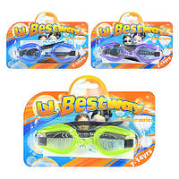BW Очки для плавания 21009 (36шт) 7-14лет, 3 цвета(синий,фиолет,зелен), на листе, 20-14-3см