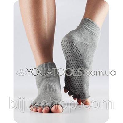 Носки для йоги нескользящие GREY ANKLE, мужские (44-46р.), TOESOX, USA