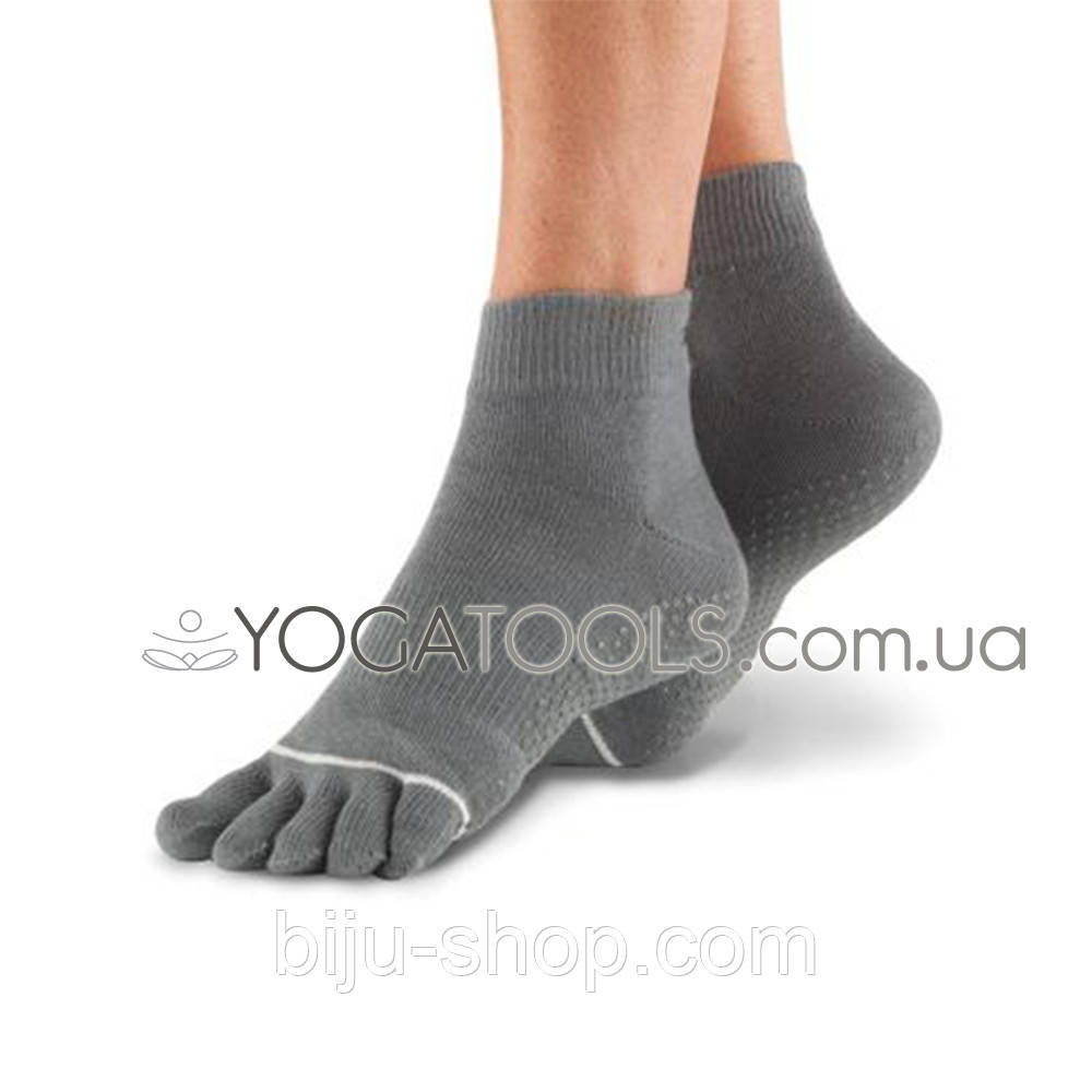 Носки для йоги нескользящие GREY FULL, мужские (38-46р.), TOESOX, USA