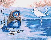 Картина по номерам 40x50 Зимняя рыбалка (КНО4084), фото 1