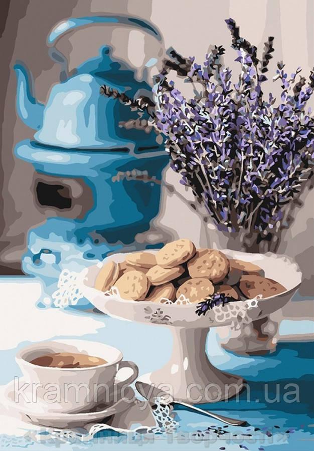 Картина по номерам 35x50 Лавандовое чаепитие (КНО5558)