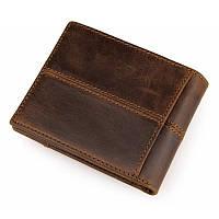 Портмоне кошелек мужское Tiding Bag 8064B коричневое кожаное двойного сложения для карт и документов